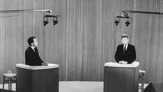 Richard Nixon and John Kennedy in the first televised presidential debate.