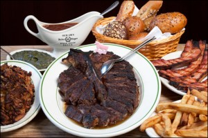 The great steak at Peter Luger's Steak House, NYC