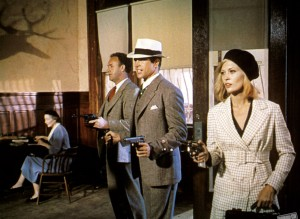 Bonnie and Clyde turned the gangster movie genre on its ear with humor and graphic violence. Uploaded by katescritiques.wordpress.com.