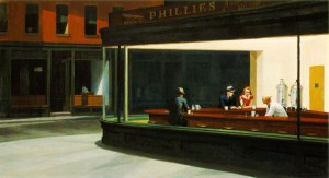 Hopper often painted realistic views of ordinary scenes and lonely people, as here in Nighthawks. Uploaded by ibiblio.org.